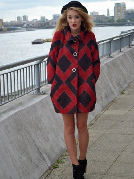 red red coat coat black cute pattern patterned
