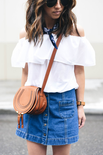 top tumblr white top off the shoulder off the shoulder top denim denim skirt mini skirt skirt bag brown bag