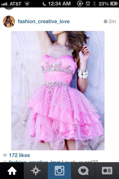 dress pink pink dress short prom dress sequins