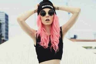 hat beanie black grunge kawaii kawaii grunge sunglasses round sunglasses big glasses perfect