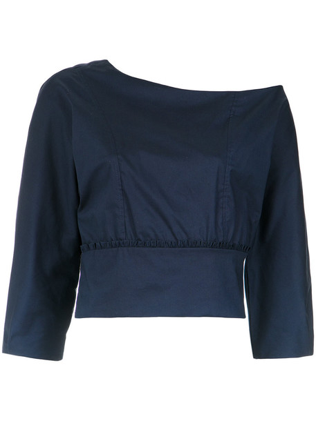 Lilly Sarti blouse women spandex cotton blue top