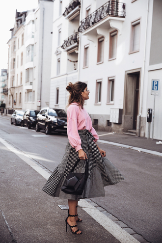 the fashion fraction blogger sweater skirt shoes bag jewels midi skirt pink sweater sandals high heel sandals top tumblr pink top sweatshirt gingham gingham skirt sandal heels black sandals black bag wrap skirt slogan sweater bucket bag tumblr bag blogger style