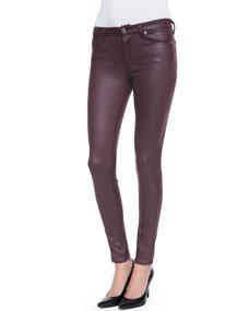 Leather-Like Skinny Pants, Burgundy Crackle