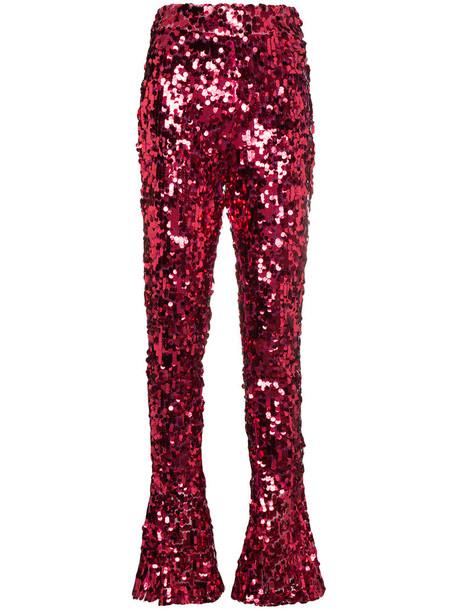 HALPERN high waisted high women spandex purple pink pants
