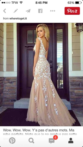 dress white lace prom nude long formal nude dress nude/tan color gown