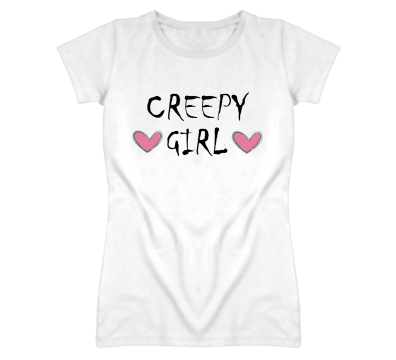 Creepy Girl Hearts Grunge Graphic T Shirt