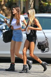 shorts,white,white top,blue,black,black boots,black bag,high heels boots,black top,kardashians,white crop tops,high waisted denim shorts,High waisted shorts,kylie jenner,piscine,tank top,shoes,jeans,boots,grunge,pia mia perez,la