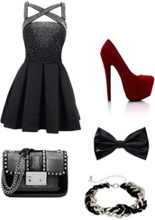dress,little black dress,studs,bag,jewels,shoes