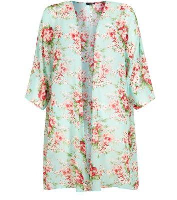Green Floral Print Longline Chiffon Kimono