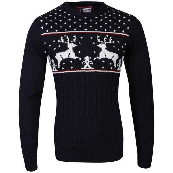 Christmas Branding Reindeer Knitted Jumper - Dark Navy - Polyvore