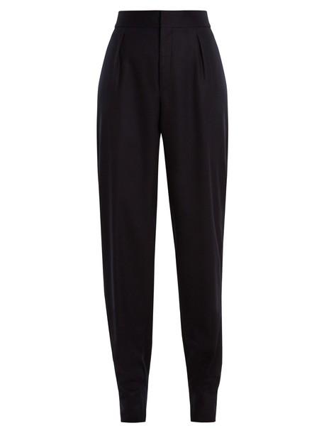 Saint Laurent high wool flannel navy pants