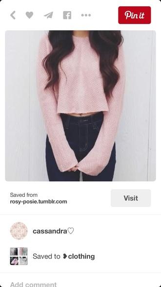 sweater cropped sweater style sweatshirt pink cute cute sweaters long sleeves long sleeve crop top cozy