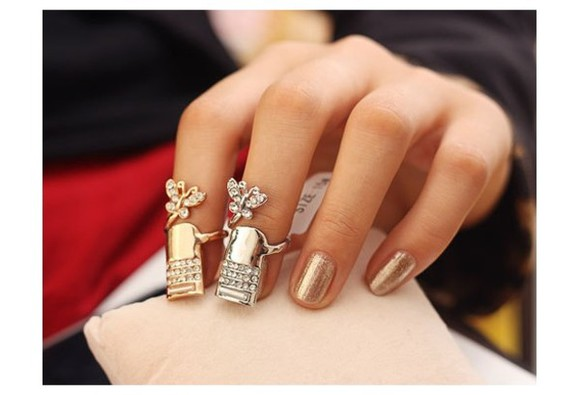 butterfly jewels ring silver rings gold rings rhinestone nails