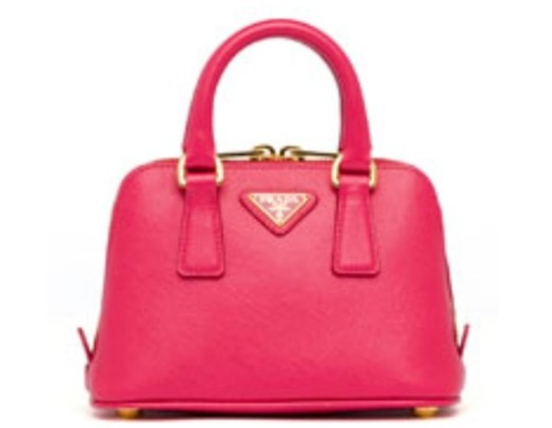 bag handbag gold leather pink prada