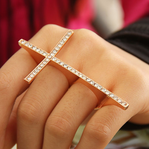 Fashion Rhinestone Golden Cross 3 Fingers Ring on Luulla