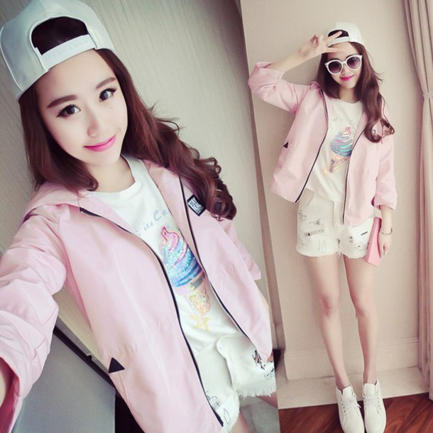 Image of: Ulzzang Fashion Jacket Pink Pastel Kawaii White Long Sleeves Cute Korean Fashion Japanese Japanese Fashion Korean Fashion Asian Syndromestore Jacket Pink Pastel Kawaii White Long Sleeves Cute Korean