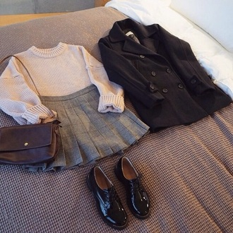 skirt school kawaii grunge jumper indie charlie barker joanna kuchta bag sweater shoes