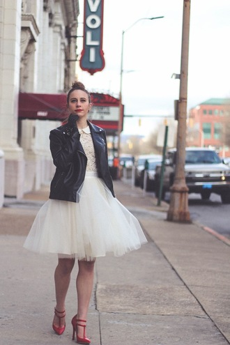 tennessee rose blogger top gloves tulle skirt perfecto red heels