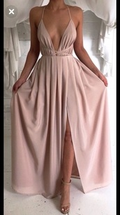 dress,backless maxi dress,side split maxi dress,deep v dress,elastic waist