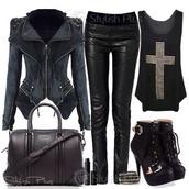 jacket,lether,shoes,jewels,jeans,tank top,bag