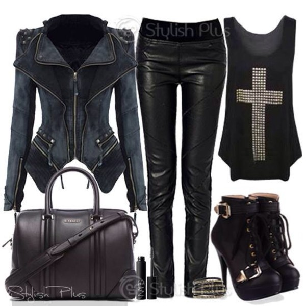 jacket lether shoes jewels jeans tank top bag