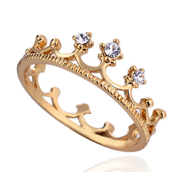 2014 fashion brand new clear cz diamond rhinestones princess crown wedding gold plated ring for women