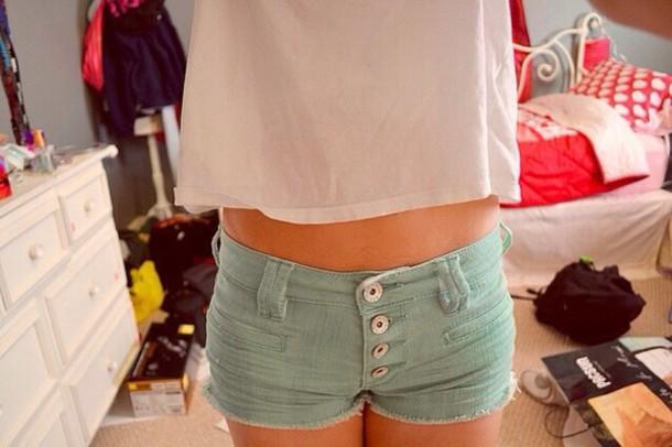 shorts real shorts pastel shorts buttons green blue cute