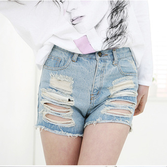shorts ripped jeans ootd outfit korean fashion denim luulla ripped shorts outfit idea