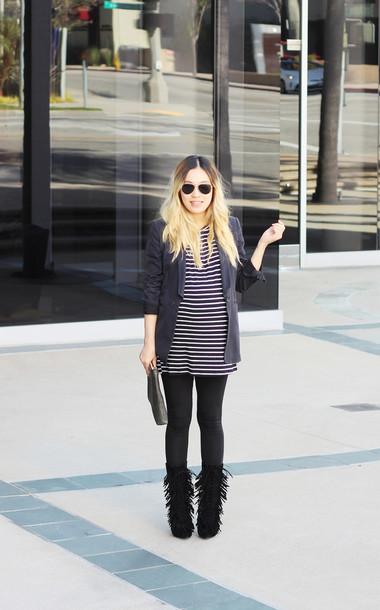 love joo kim blogger leggings fringe shoes maternity striped top