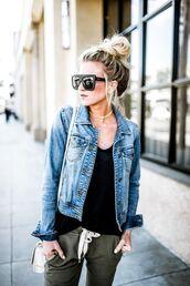 jacket,sunglasses,denim jacket,black shirt,green sweatpants,blogger