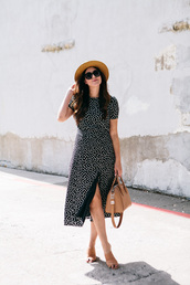 dress,polka dots,midi dress,sunglasses,hat,summer dress