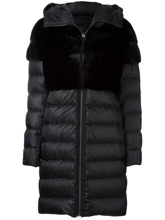 coat fur zip women black