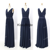 chiffon bridesmaid dress,long bridesmaid dress,evening dress navy blue,dress