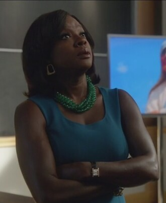 dress blue teal wool strech crepe sleeveless annalise keating viola davis how to get away with murder