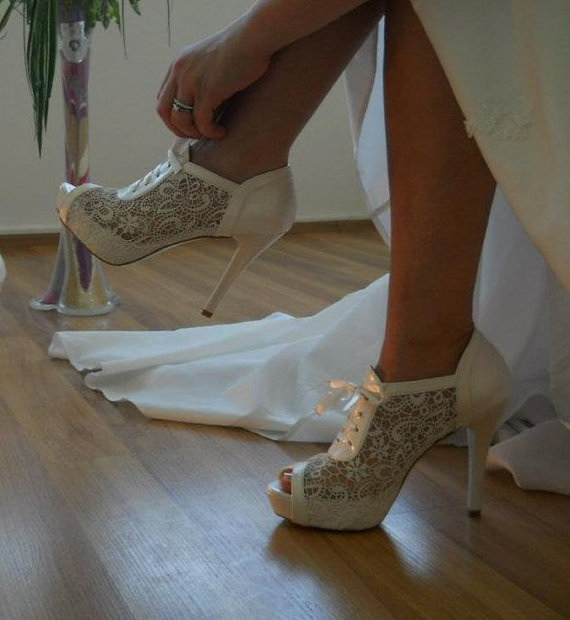 Lace Bridal Wedding shoes 8445  with my gift by bosphorusshop