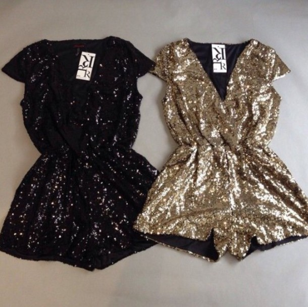 Romper glitter new year 39 s eve christmas gold playsuit for Glitter new years dresses