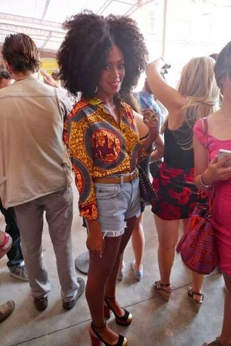 shirt multi solange knowles blouse african print ancara