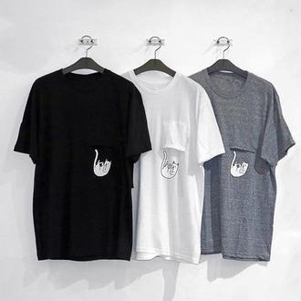 t-shirt black white grey grunge japan japanese korean fashion cats cute