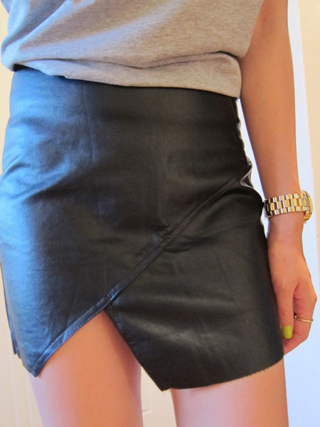 Angled Leather Skirt – Glamzelle