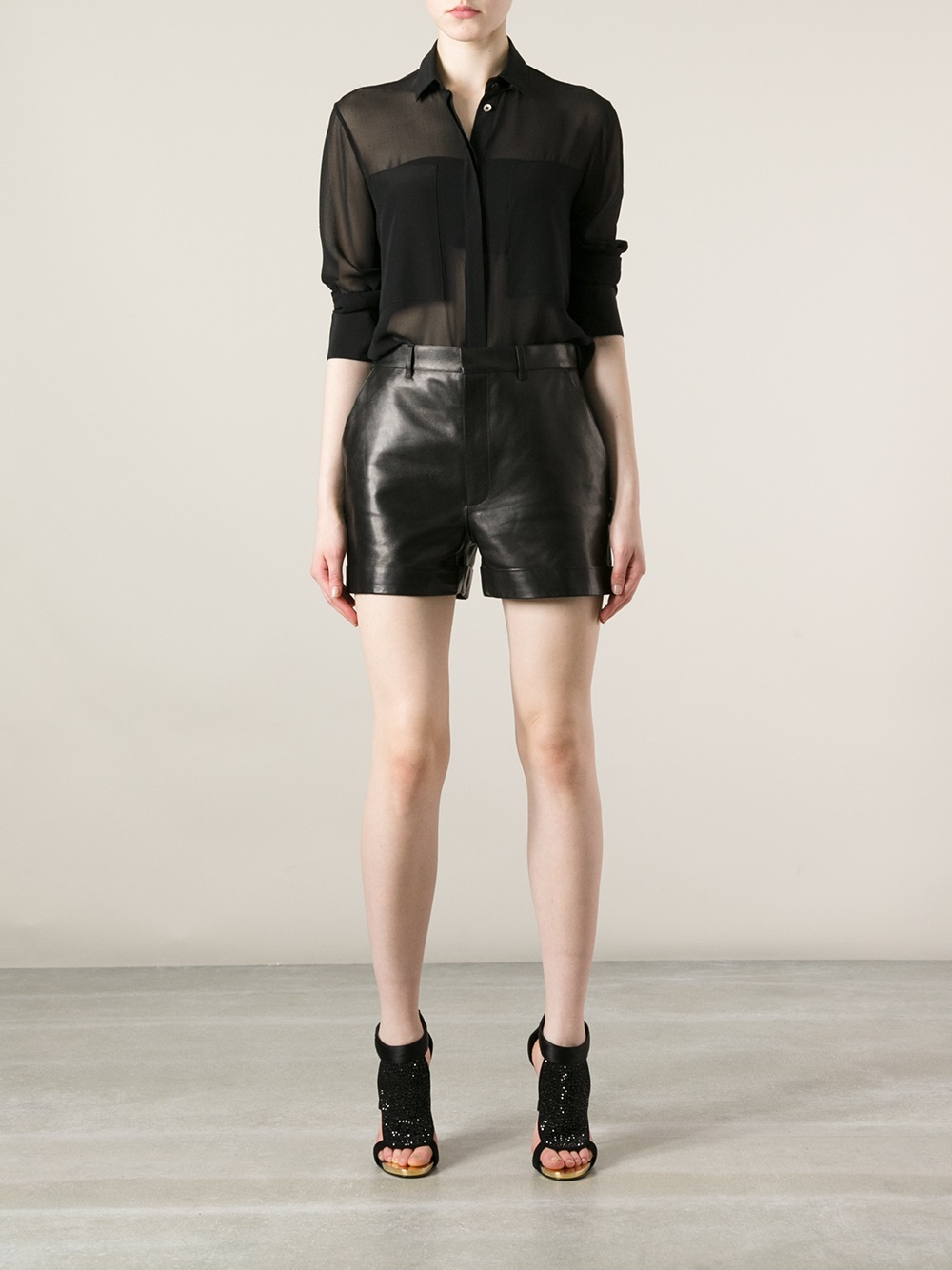 Saint Laurent Leather Shorts - Luisa World - Farfetch.com