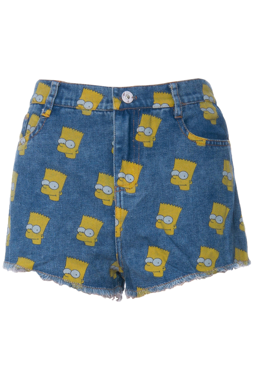 ROMWE | ROMWE Simpson Print Acid-washed Blue Denim Shorts, The Latest Street Fashion