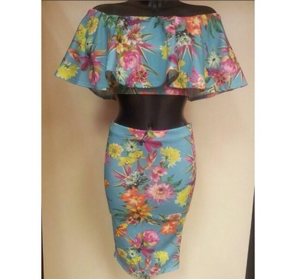 floral print skirt floral print top crop tops skirt floral two-piece two-piece ruffle ruffled top top