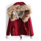 Red hooded coat - fashion blogger style trend jacket elegant winter | awesome world - online store