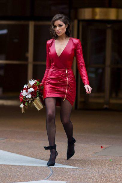 dress red dress red pumps mini dress plunge dress fall dress olivia culpo shoes