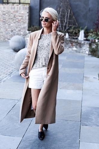 shorts tumblr sweater grey sweater spring sweater shoes black shoes loafers black loafers coat camel camel coat sunglasses