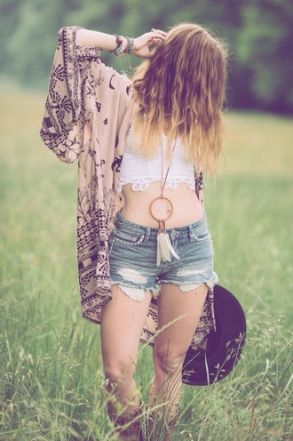 shirt white crop tops brown hat hippie gypsy-style top gypsy necklace dreamcatcher necklace