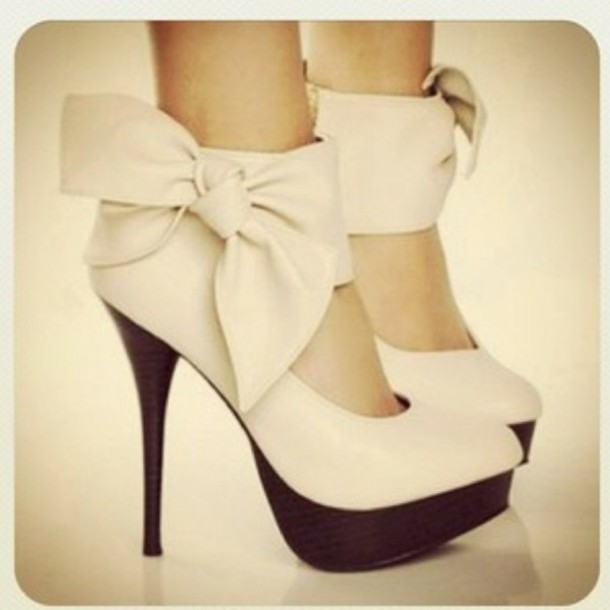 Shoes: bow heels heels white shoes high heel pumps nude heels
