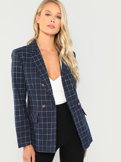 Double Breasted Notched Neck Plaid Blazer
