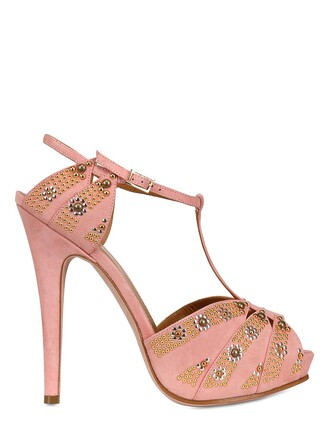 studded sandals suede pink shoes