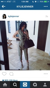 bag,kylie jenner,shoes,jumpsuit,clubwear,style,sexy dress,green dress,army green jacket,jumper,kylie jenner jewelry,black